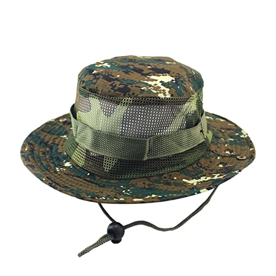 8a74018015d Iuhan Fishing Sun Boonie Hat Adjustable Cap Camouflage Boonie Hats Nepalese Cap  Army Fisher Hat Outdoor Sun Protection Hunting Mesh Hat AS The Picture  Shows ...