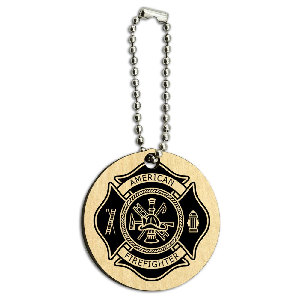 Firefighter Firemen Maltese Cross American Black Wood Wooden Round Key Chain