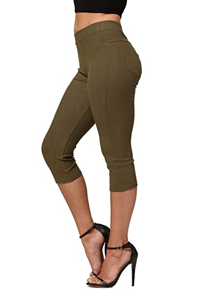 87b0ed693f1ff6 Premium Jeggings - Denim Leggings - Cotton Stretch Blend - Capri Army Green  - Small/