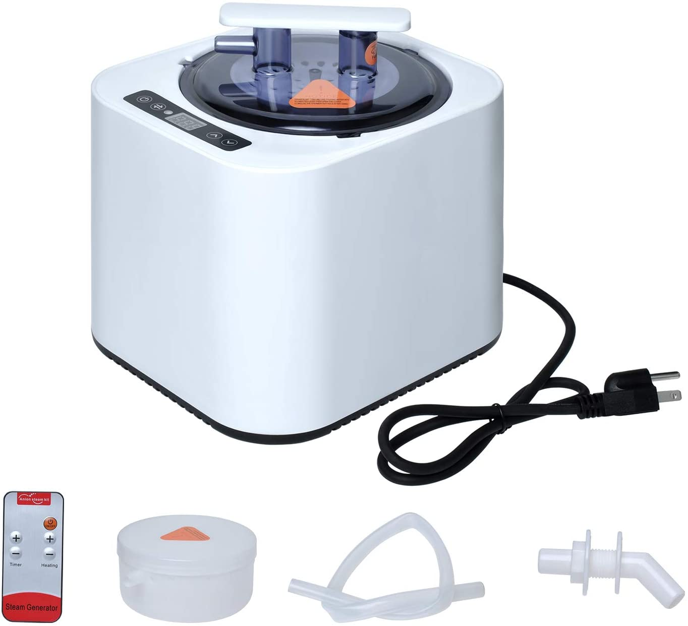 Wadoy Portable Sauna Steamer Pot, Steam Generator for Sauna, Home SPA Fumigation Steam Machine for Body Detox with Smart Touch Button, Timer Display and Remote Control, 2L 110V