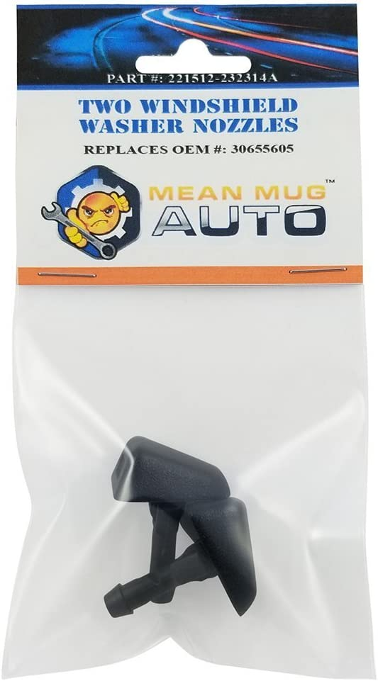 Mean Mug Auto 221512-232314A (Two) Front Windshield Washer Nozzles - Compatible with Volvo - Replaces OEM #: 30655605