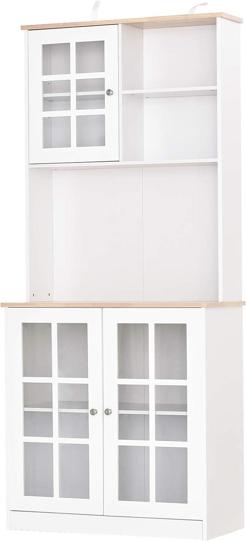 """HOMCOM 72"""" Modern Kitchen Solid Storage Kitchen Cabinet Pantry with Sleek Minimal Design & Ample Storage Space, White"""