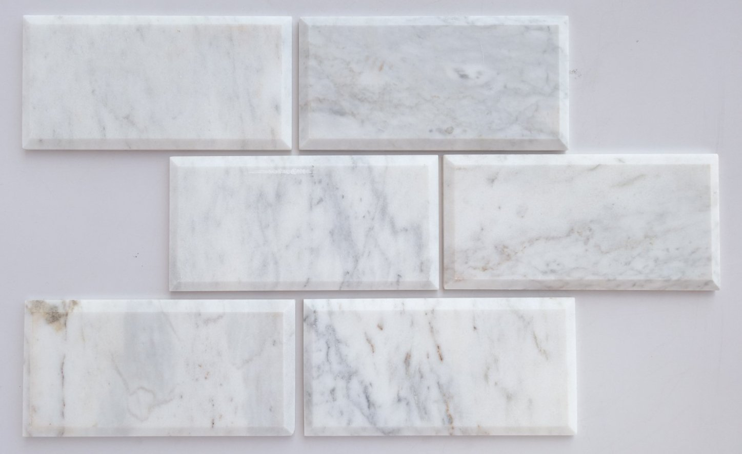 Bianco Venatino Marble 4X8 Deep - Beveled & Honed Subway Tile - STANDARD QUALITY - Lot of 20 Sq. Ft.