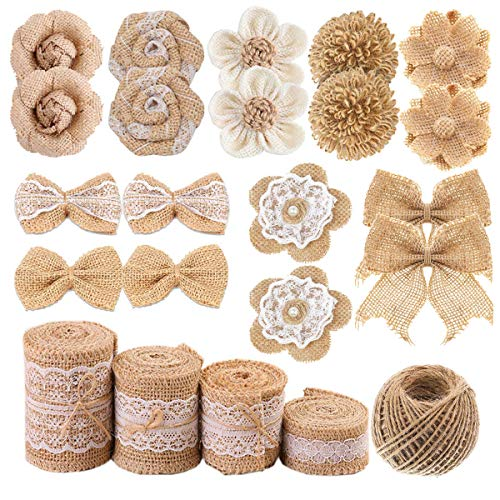 Natural Burlap Flowers Set, Include 9 Styles Handmade Rustic Burlap Flowers, Lace Burlap Ribbon Roll and Natural Jute Twine for DIY Craft Wedding Gift Tags Wrap Wine Bottle Home Embellishment 23PCS -