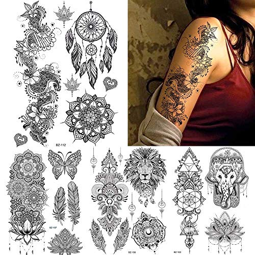 MRKAL Black India Tribal Dream Catcher Mandala Flower Henna Tattoo Sticker Women Arm Art Tattoos Temporary Body Wrist 3D…