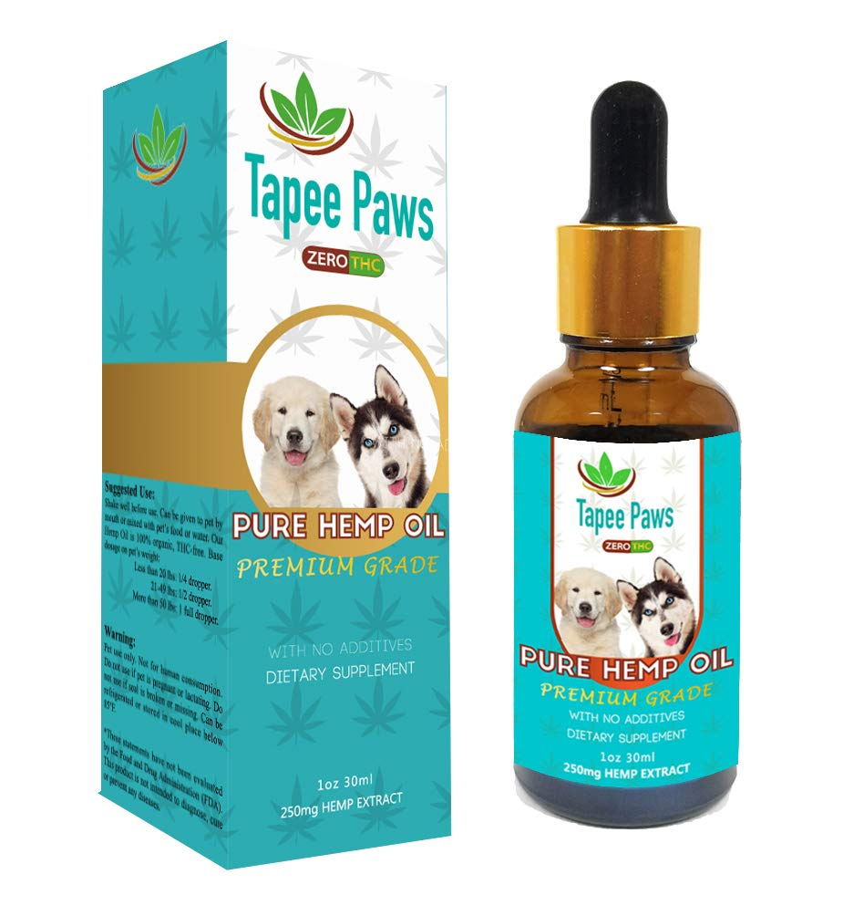 Tapee Paws Hemp Oil for Dogs and Cats 250 mg - Pain Relief, Calming, Fights Cancer, Remedies - Arthritis, Stress, Seizures, Muscle Spasms, Epilepsy, Separation Anxiety, Itching & Skin Allergies by Tapee Organics