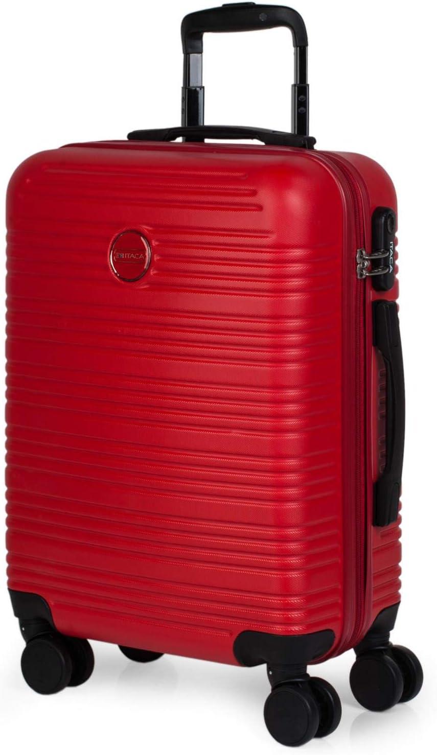 ITACA - Maleta de Viaje Rígida 4 Ruedas 55x40x20 cm Cabina Trolley ABS. Equipaje de Mano. Dura Cómoda Resistente y Ligera. Candado. Low Cost Ryanair. Calidad y Diseño. T72150, Color Rojo