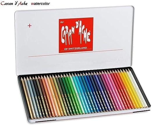Caran Dache Swisscolor - Juego de lápices de color lápices de acuarela (40 unidades, caja metálica): Amazon.es: Hogar