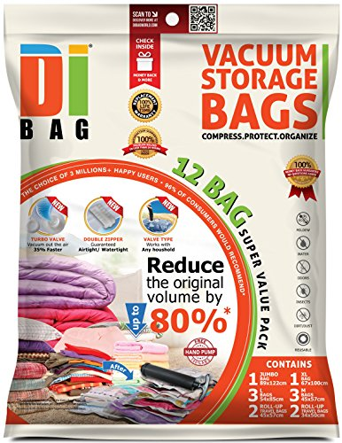 DIBAG 12 Space Saver Vacuum Storage Travel Bags, Flat Bag: 1 Jumbo, 1 X-Large, 3 L, 3 M 4 Suitcase Roll-up Bag, Clear