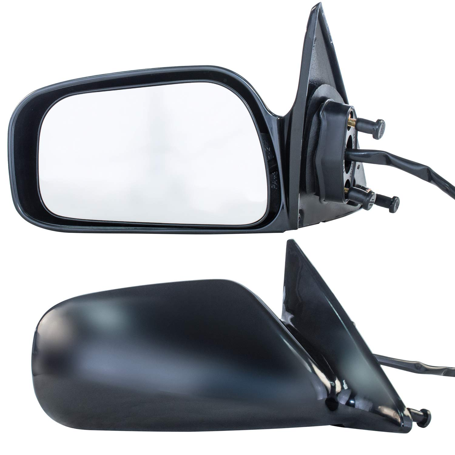 Dependable Direct Driver and Passenger Side Unpainted Non-Heated Non-Folding Door Mirrors for USA Built Toyota Camry (1997 1998 1999 2000 2001)
