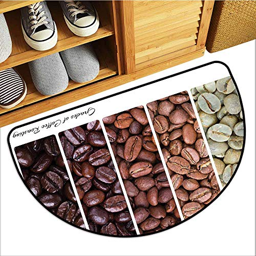 Axbkl Outdoor Door mat Coffee Vertical Banner Stages of Beans from Raw to Roasted Java Processing Addictive Super Absorbent mud W24 xL16 Ivory Brown White
