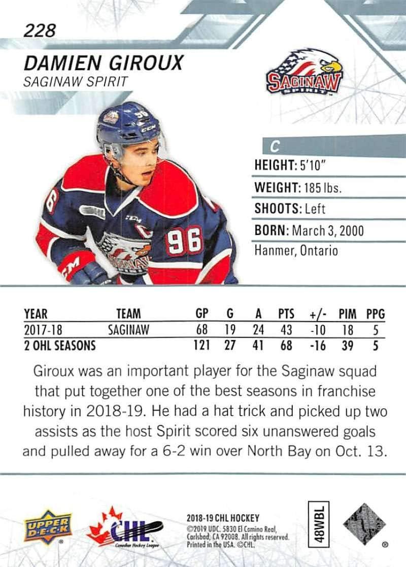 2018-19 UD CHL #228 Damien Giroux Saginaw Spirit Official Canadian Hockey League Trading Card by Upper Deck