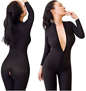 9da526b085f9 Amuhou Womens Open Crotch Jumpsuits Perspective Sexy Zipper Long Sleeves  Catsuit Bodysuit Clubwear