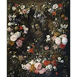 'Verendael Nicolaes van Guirnalda rodeando a la Virgen Maria 1640 60 ' oil painting, 16 x 19 inch / 41 x 49 cm ,printed on Perfect effect canvas ,this High quality Art Decorative Prints on Canvas is perfectly suitalbe for Basement gallery art and Home