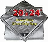 20' X 24' Heavy Duty 14 By 14 Cross Weave 10 Mil Silver Poly Tarp with Grommets Approx Every 24 Inches All Around, Corner Solid Plastic Bar Reinforcement for Extra Strength