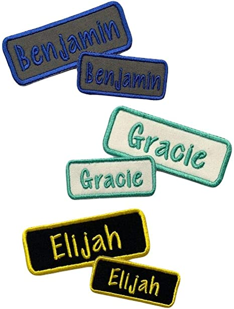 Personalised embroidered name patch badge iron or sew on Glitter