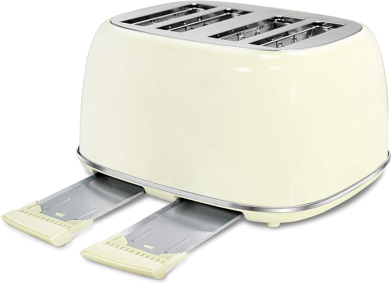 Beige Keenstone Retro Stainless Steel Bagel Toaster with Wide Slots Toasters 4 Slice