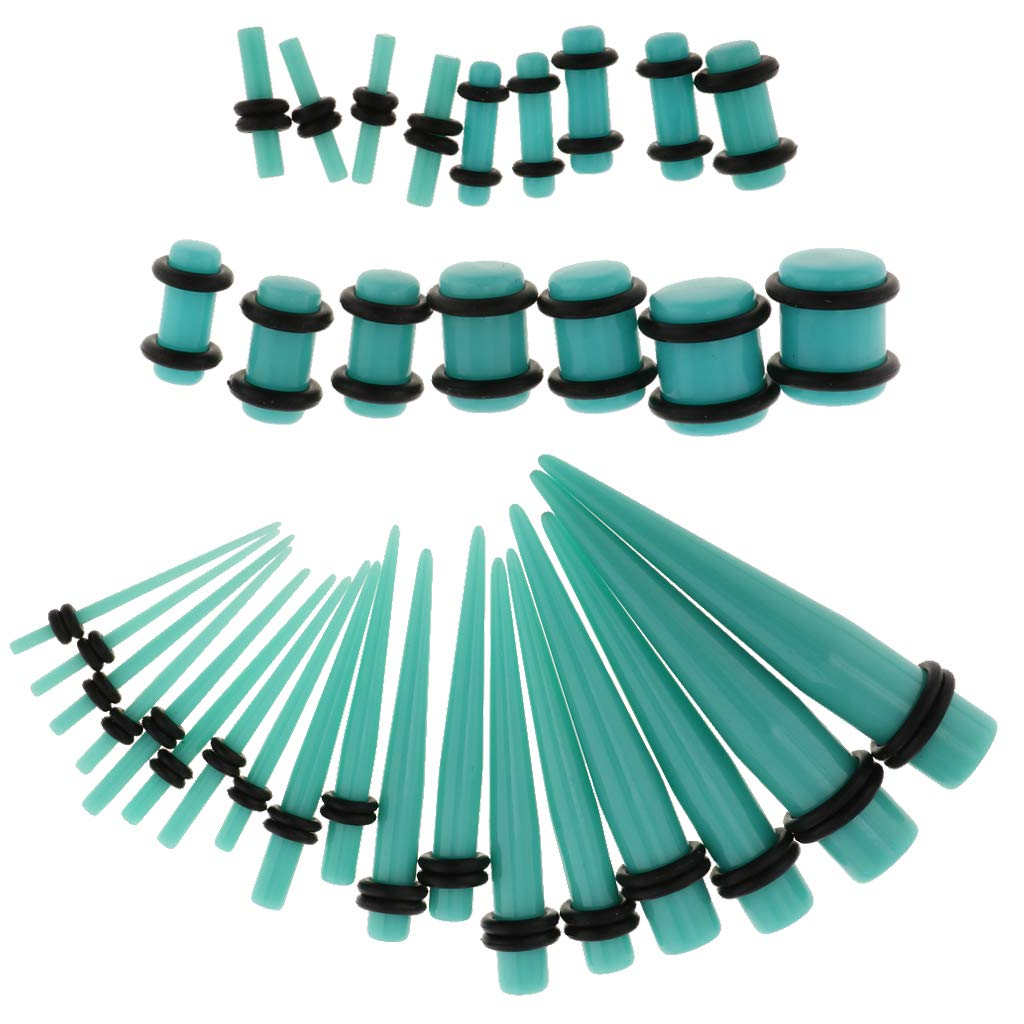 Prettyia 36 Pieces Gauges Kit Plugs Stainless Steel Tapers 14G-00G Ear Stretching Piercing Set