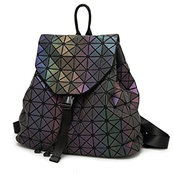Amazon.com  HotOne Shard Lattice Design Geometric Backpack Holographic  Reflective Backpacks PU Leather Fashion Backpack(Luminous)  Clothing 762cf22d736a9