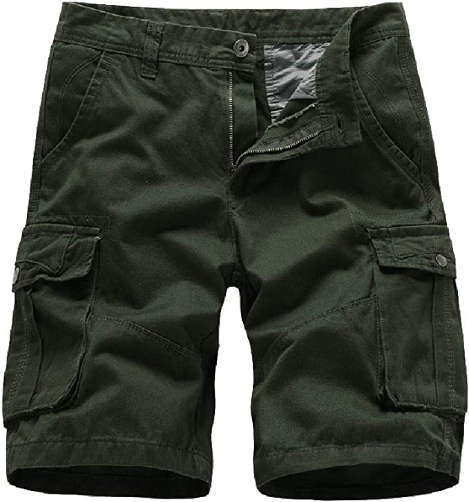 Comaba Mens Pockets Fashion Casual Regular-Fit Army Washed Cargo Pants