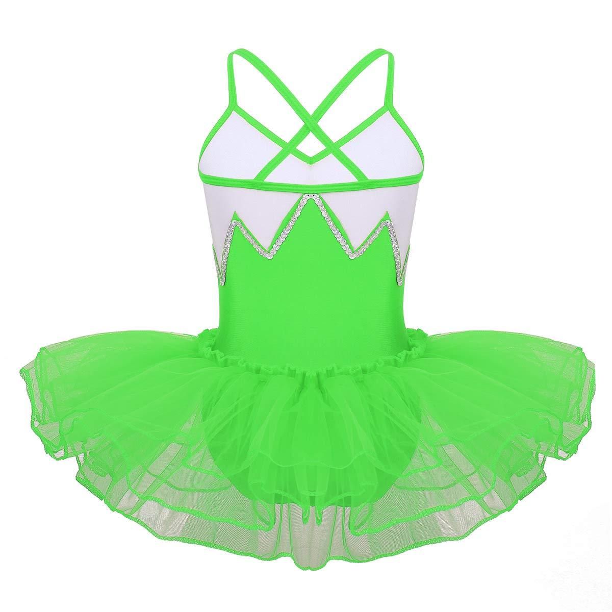CHICTRY Kids Girls Basic Camisole Ballet Dress Tutu Chiffon Ruffled Gymnastics Leotard Skirt