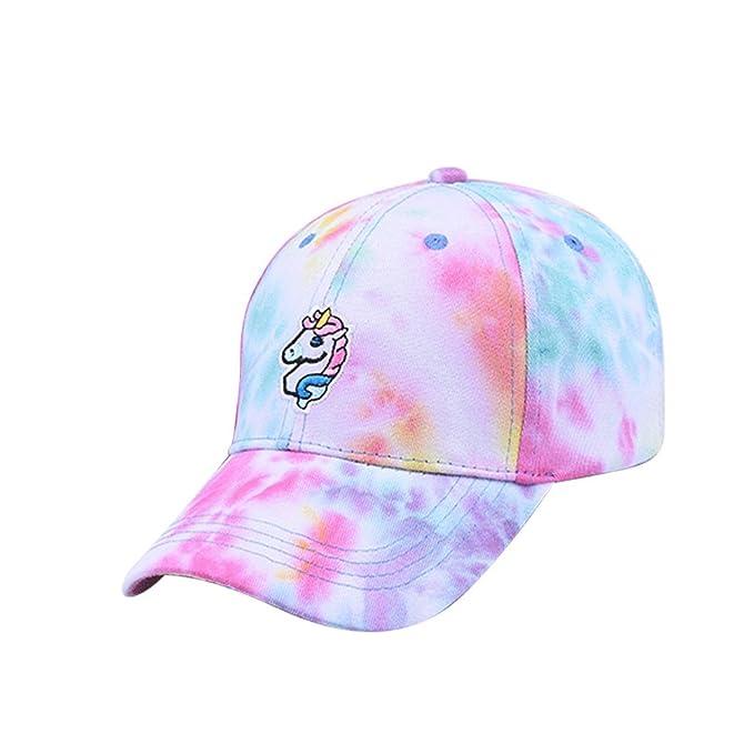 87f3cc47d Ztl Colorful Unicorn Embroidered Baseball Cap Sun Visor Hat for Women Girls