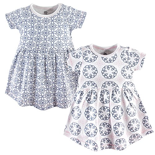 Yoga Sprout Baby Girls' Cotton Dress, 2 Pack, Whimsical, 3-6 Months (6M)]()