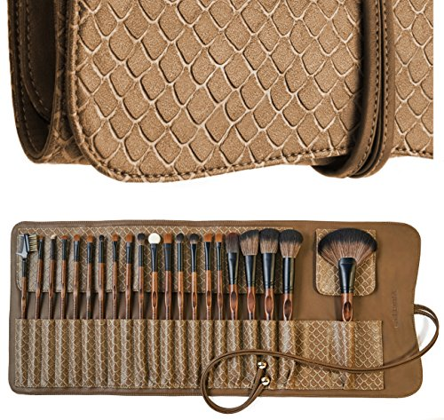 LA FERRA | Professional Makeup Brush Set | Cosmetic Make Up Brushes | Beauty Blender | Cleaning Mat | Travel Holder Organizer Case | Best Gift for Girl | Full Face and Eye Kit | 21 Pcs