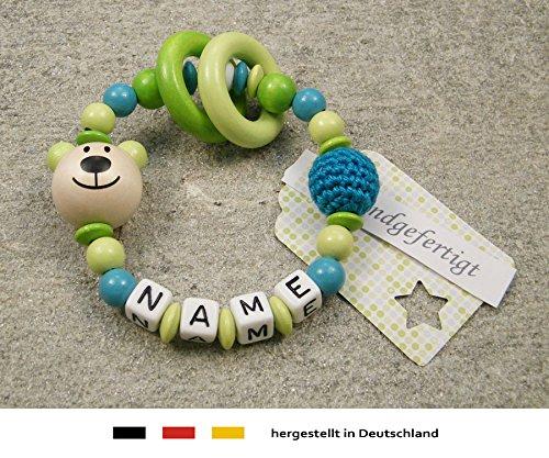 Baby Greifling Beißring geschlossen mit Namen | individuelles Holz Lernspielzeug als Geschenk zur Geburt & Taufe | Mädchen & Jungen Motiv Bär in lemon grün