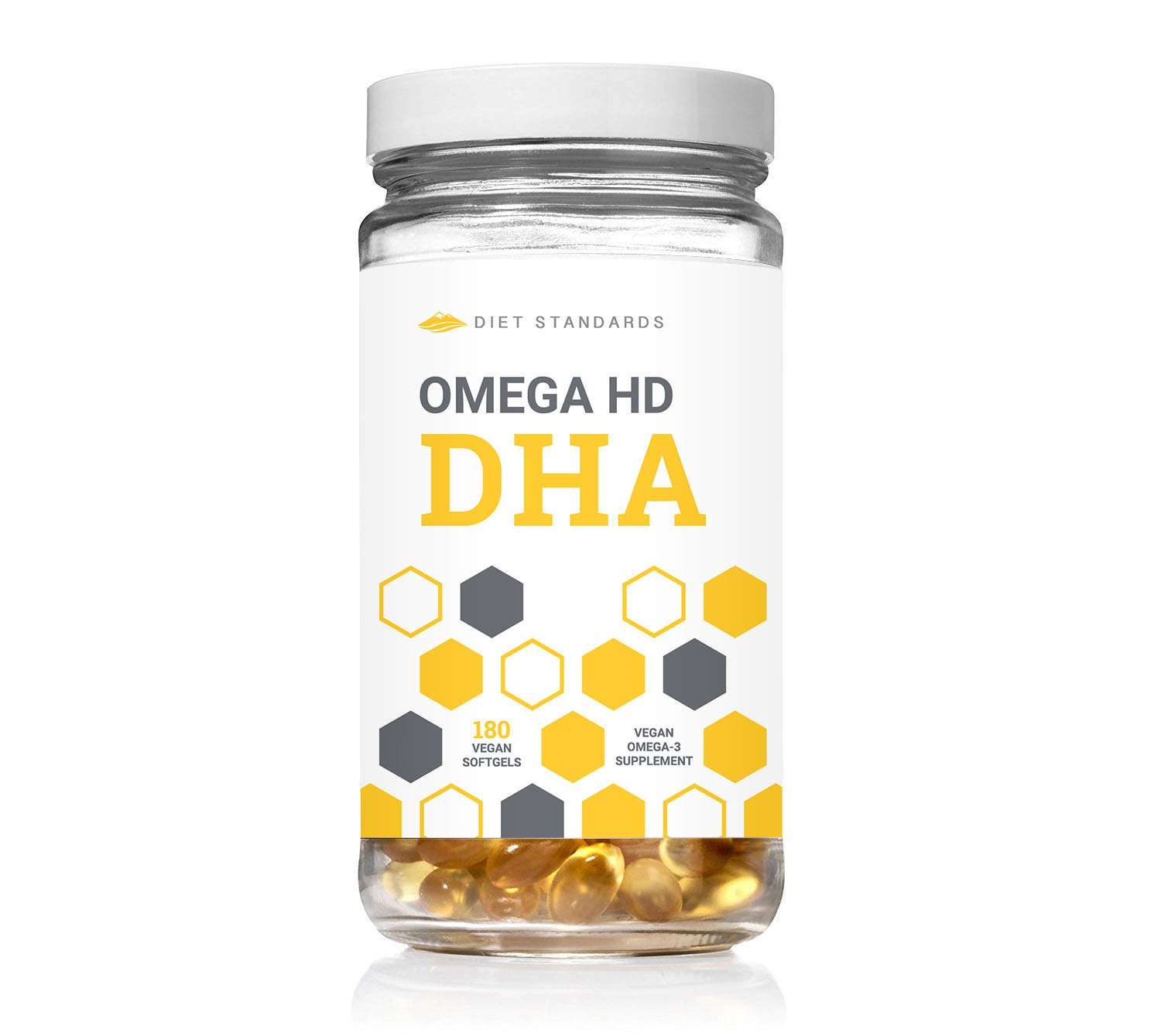 Diet Standards OmegaHD DHA Supplement (Formerly AminoHD BCAA) - 450 mg DHA Vitamin (Omega 3 Supplements) - 100% Plant-Based with Algae Oil - 180 Vegan Softgels