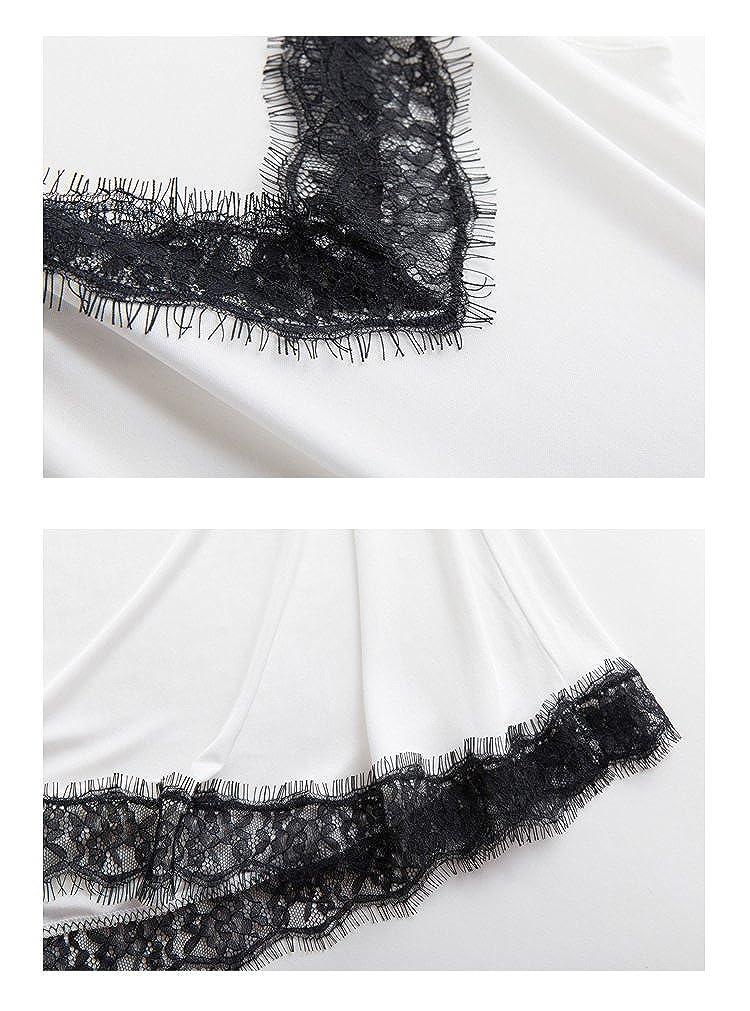 SilRiver Womens Silk Adjustable Spaghetti Straps Cami Slip Dress Laced V-Neck Camisole Nightdress