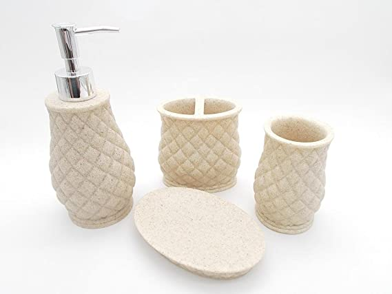 TOTO DEALS Bathroom Sanitary Set made from Natural Brown/Sand Stone - Bath Accessories set of 4 includes Soap Dispenser, Toothbrush Holder, Utility and Soap Dish