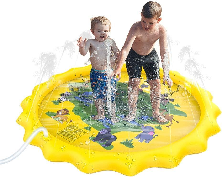 Kids Pool Inflatable Splash Sprinkler Pad for Boys//Girls Outdoor Lawn Water Toys pesfeel 67 Sprinkler Splash Mat for Kids Wading Swimming Pool Splash Pad