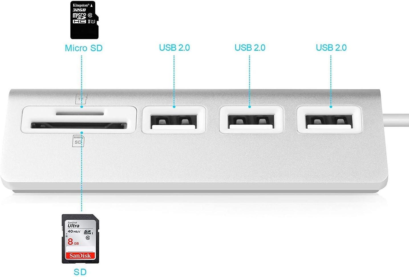 Mac Mini USB 2.0 Hub with SD//TF Card Reader for iMac MacBook Pro MacBook MacBook Air PC and Laptop XLHJFDI USB 2.0 Hub