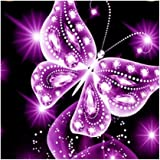MagiDeal Full Drill Butterfly Diamond Painting Embroidery Cross Stitch kit for Home Decor - Pink, 25 x 25cm