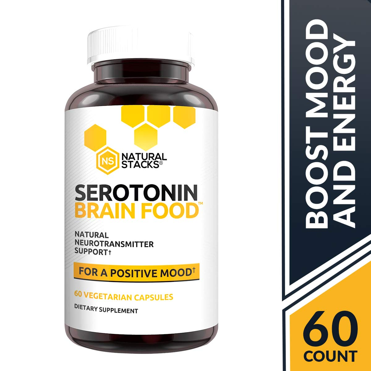 Natural Stacks Serotonin Brain Food – Brain Supplement – 30 Day Supply – Promotes Healthy Serotonin Production – Formulated for Stress Relief – Made to Boost Mood and Energy