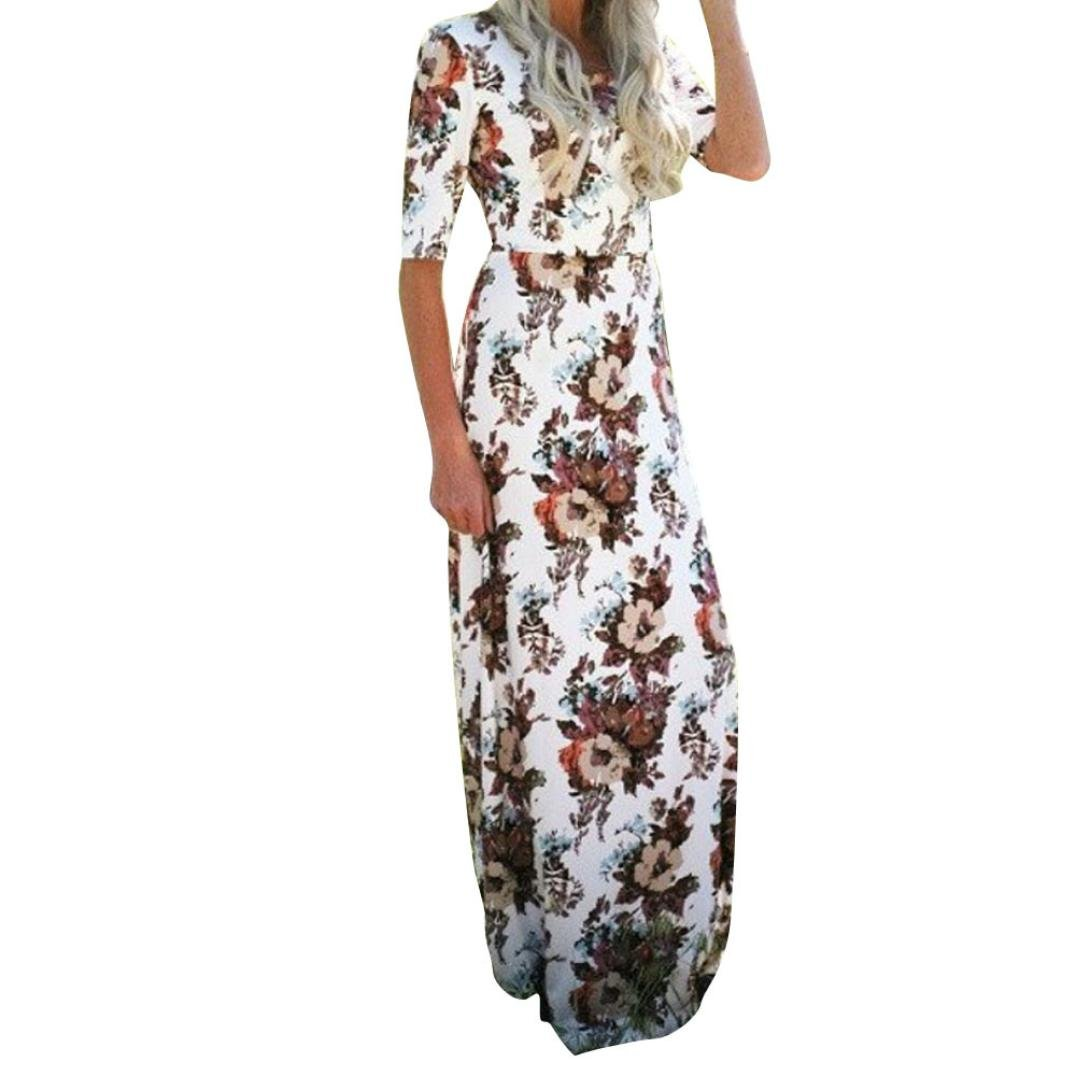 Womens Floral Long Maxi Dress Half Sleeve Evening Party Summer Beach Sundress (XL, White)