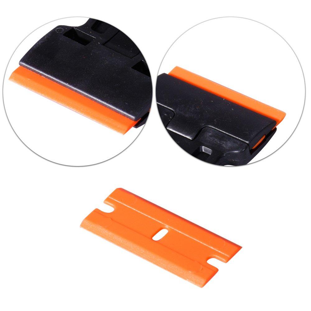 FOSHIO 200Pcs 1.5'' Plastic Razor Blades for Safety Titan Scraper, Double Edged Plastic Scraper Blades Remove Decals/Stickers/Adhesive Label/Clean Glass by FOSHIO (Image #1)