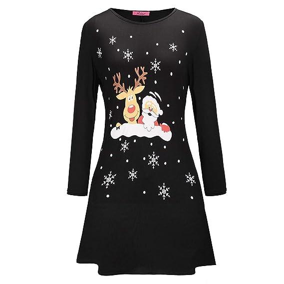 Fiesta Vestido Mujer Navidad Santa EUZeo Manga Larga Invierno señoras Casual Cocktail Vestido Tallas Grandes Elegante