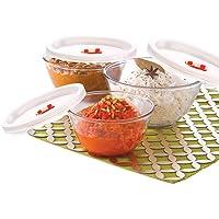 Borosil Basics Glass Mixing Bowl with lid - Set of 3 (500ml + 900ml + 1.3L) Microwave Safe