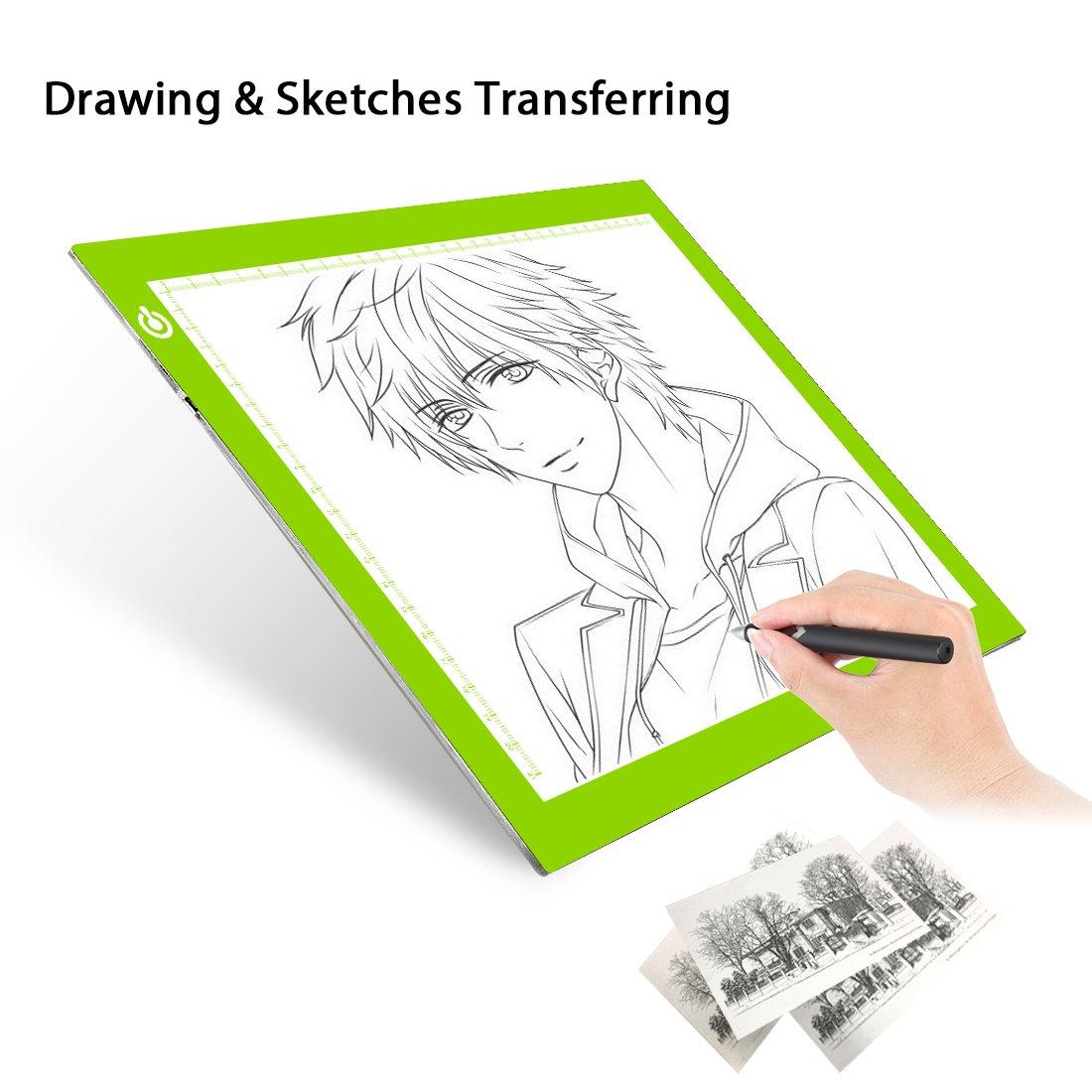 Tracing Light Table Ultra-thin A4 LED Copy Board NXENTC Light Pad Drawing Display Pad Brightness Adjustable Stencil Artist Art Tracing Tatto Table Green