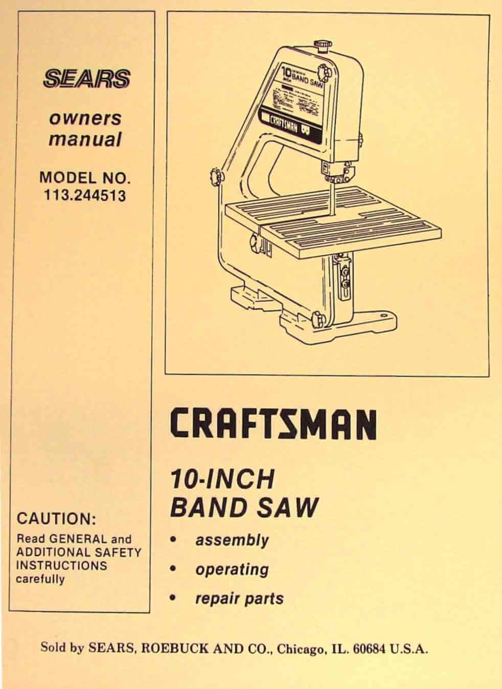 CRAFTSMAN 113.244513 10-Inch Band Saw Owner's and Parts Manual: Misc.:  Amazon.com: Books