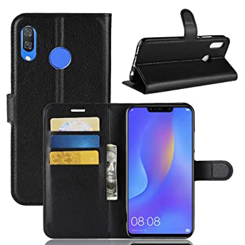 Funda Huawei P Smart Plus, Fertuo Carcasa Libro con Tapa de Cuero Piel Wallet Case Flip Cover con Silicona Bumper [Kickstand] [Ranuras para Tarjetas] ...