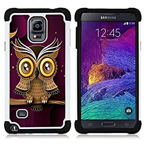 For Samsung Galaxy Note 4 SM-N910 N910 - Owl Purple Smart Design Minimalist Modern /[Hybrid 3 en 1 Impacto resistente a prueba de golpes de protecci????n] de silicona y pl????stico Def/ - Super Marley Sh