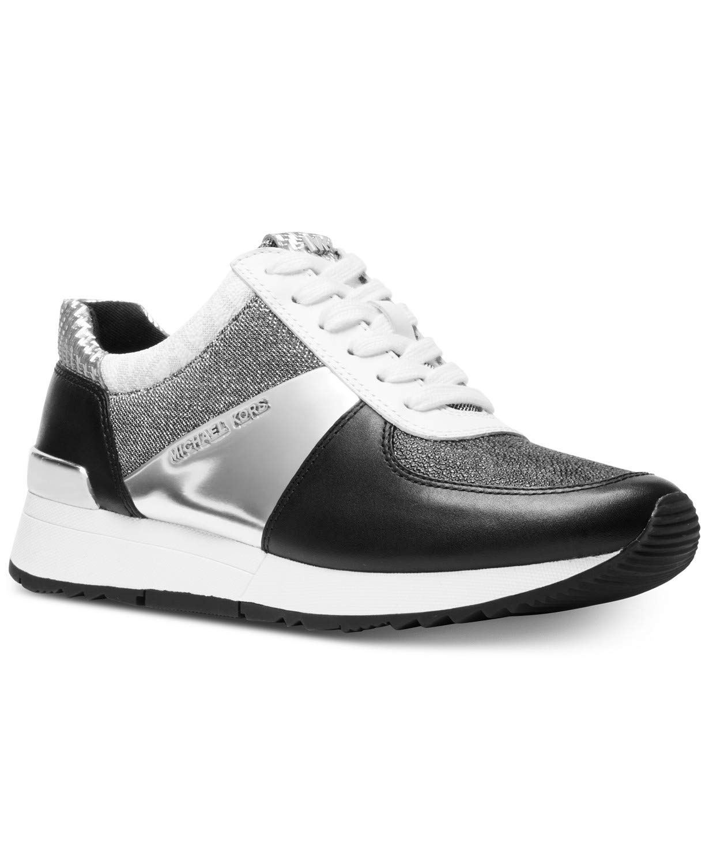 Michael Kors MK Women's Allie Trainer Leather (5, Black/Silver)