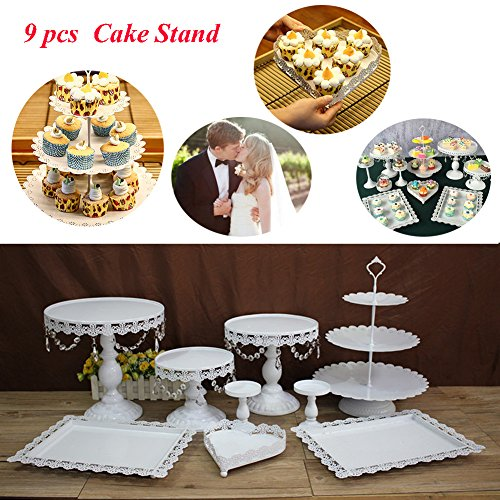 NOPTEG 9 Pieces/Set White Cake Stand Wedding Birthday Cupcake Stand Set Crystal Candy Bar Decoration Cake Tools Bakeware Antique Cake Stand (9 Set/Crystal)