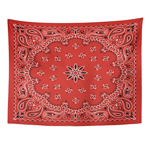 Emvency Tapestry Black Border Red Paisley Bandana Colorful Abstract Scarf Home Decor Wall Hanging for Living Room Bedroom Dorm 60x80 inches