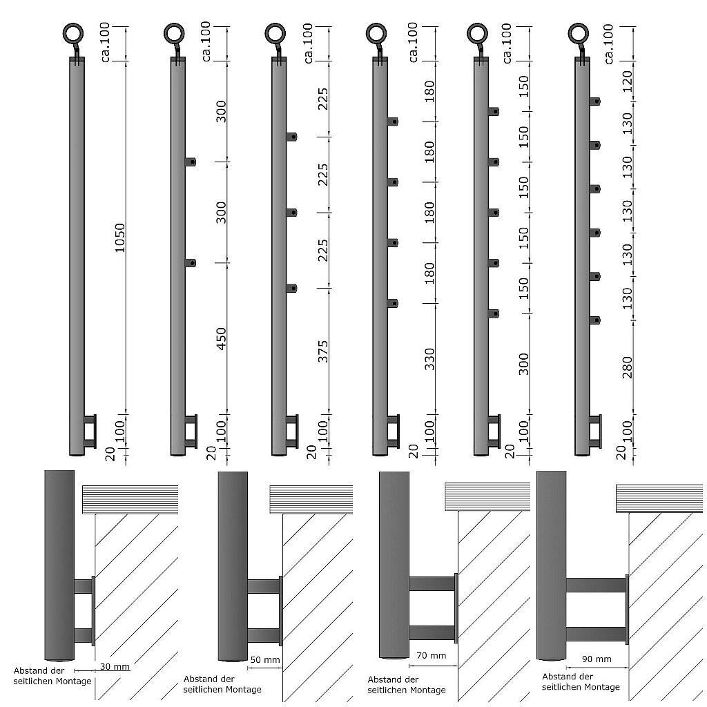 Gel/änder f/ür seitliche Montage an Treppen Balkone und Terrassen mit waagerechten Streben 160 cm mit 2 Pfosten und 2 Querstreben 90mm