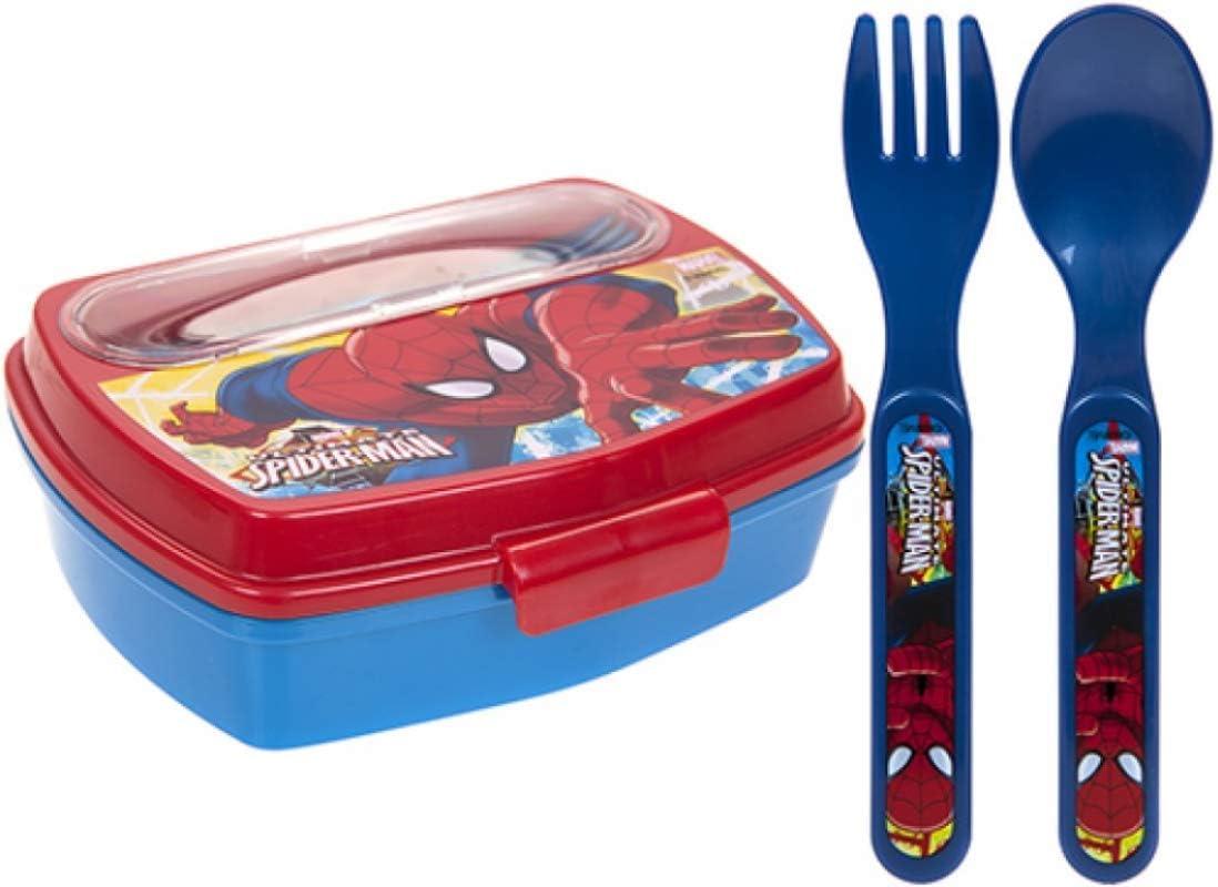 Fiambrera con diseño de Spider Man de Marvel para niños, con cuchara de plástico y tenedor, ideal para la escuela o el picnic