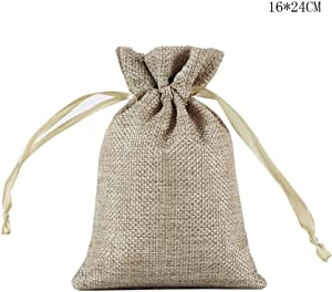 Xdodnev Linen Drawstring Storage Bag Toy Shoes Laundry Organizer Travel Packing Pouch